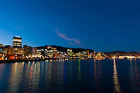 Twilight view into the harbor of Wellington, New Zealand