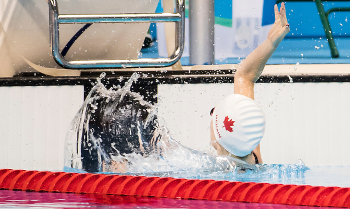 Sarah Mehain, of Vernon, BC, competes in the women's 100m backstroke S5 classification heats at the Olympic Aquatics Stadium during the Paralympic Games in Rio de Janeiro, Brazil, on September 8, 2016.