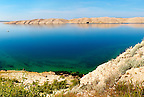 sea and treeless lanscape of Pag  island,  Croatia