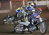Heat 4 - Joonas Kylmakorpi (red), Adam Shields (green), Lewis Bridger, Andreas Messing - Arena Essex Hammers vs Eastbourne Eagles - Sky Sports Elite League 'B' - 04/10/2006 - MANDATORY CREDIT: Gavin Ellis/TGSPHOTO