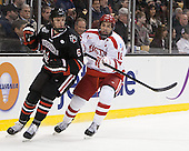 Mike Gunn (NU - 6), Wade Megan (BU - 18) - The Northeastern University Huskies defeated the Boston University Terriers 3-2 in the opening round of the 2013 Beanpot tournament on Monday, February 4, 2013, at TD Garden in Boston, Massachusetts.