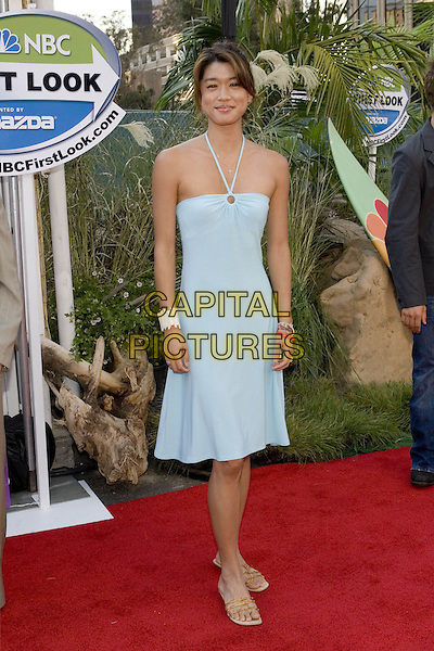 GRACE PARK.Network All Star Celebration held at the Century Club, .Los Angeles, 25th July 2005.full length full-length blue turquoise strappy halterneck dress flat sandals shoes flip flop white bracelet.www.capitalpictures.com.sales@capitalpictures.com.© Capital Pictures.