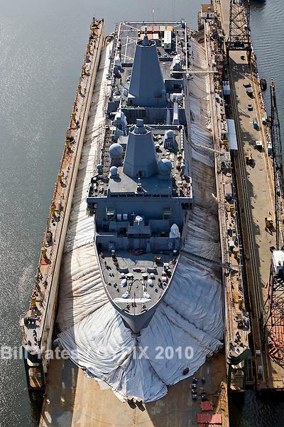 BAE Systems Norfolk Ship Repair Drydock Virginia helicopter aerial