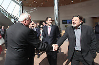 07/09/2010. Denis Desmond greets Former Taoiseach Bertie Ahern tD with John Ronan & (Johnny ronan's Son in the centre of Photo). at the opening of the Convention Centre in Spencers Dock,  Dublin..Photo: Gareth Chaney Collins
