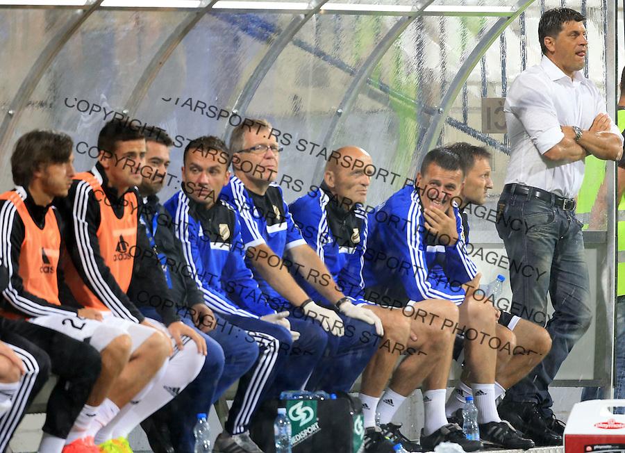 Fudbal Football Soccer<br /> UEFA Europa league-Second qualifying round, First leg<br /> Cukaricki v Grodig Austria<br /> Head coach Vladan Milojevic (R)<br /> Beograd, 07.17.2014.<br /> foto: Srdjan Stevanovic/Starsportphoto &copy;
