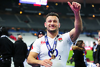 Danny Care of England celebrates after the match. RBS Six Nations match between France and England on March 19, 2016 at the Stade de France in Paris, France. Photo by: Patrick Khachfe / Onside Images
