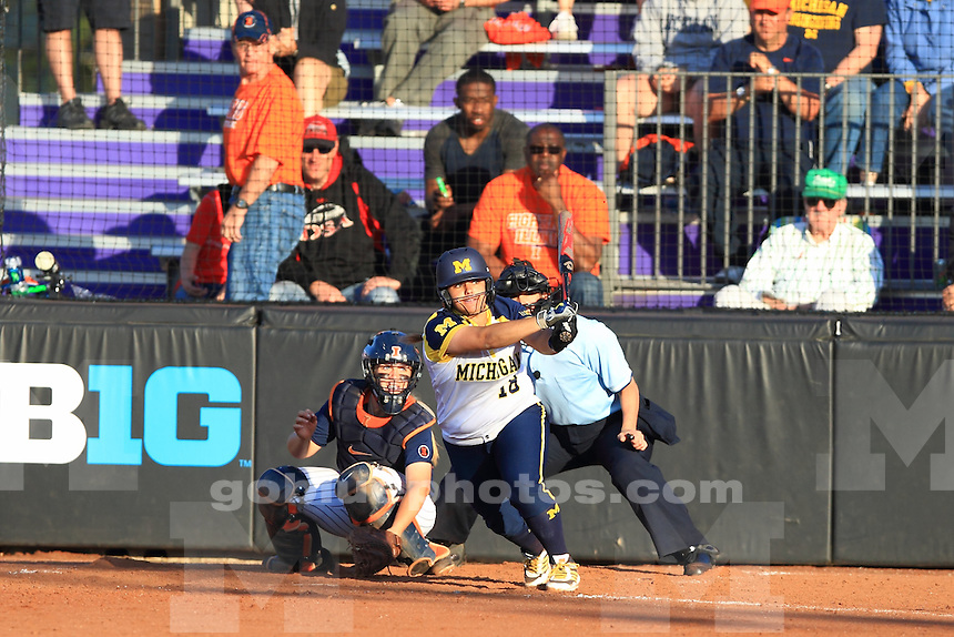 The University of Michigan softball team defeats Illinois, 8-2, in its first game of the 2014 Big Ten Softball Championship at Northwestern University on May 9, 2014.
