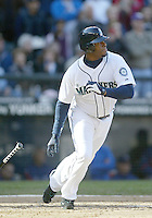 04 October 2009: Seattle Mariners designated hitter Ken Griffey Jr singles up the middle for a base hit in his last at bat of the season at Safeco Field.  Seattle won 4-3 over the Texas Rangers at Safeco Field in Seattle, Washington.