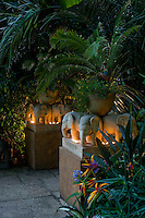 Plinths with hand carved limestone elephants on top carrying potted ferns and lit by tealights create an exotic and romantic feature in the garden
