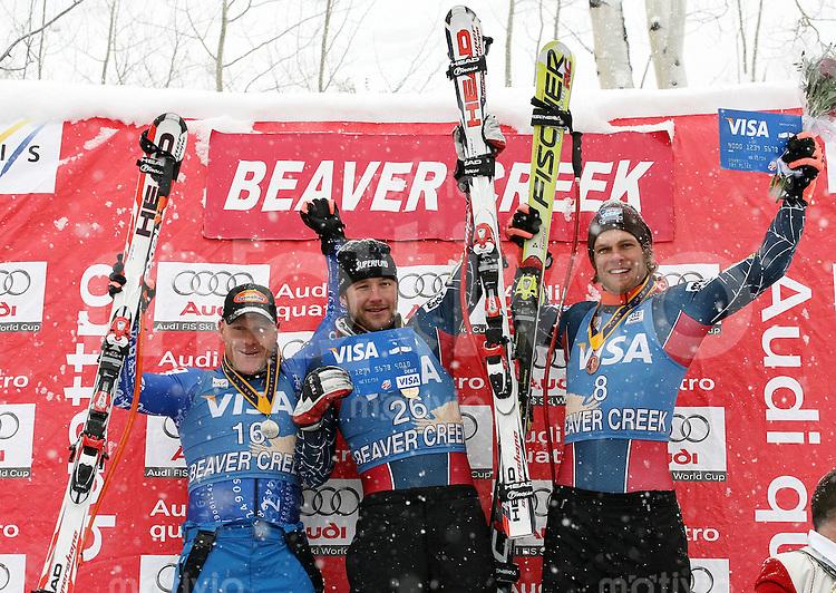 Ski Alpin; Saison 2006/2007  Abfahrt Herren Didier Cuche (SUI,li) belegt Platz 2. Sieger Bode Miller (USA,mitte) Steven Nymann (USA,re) Platz 3.