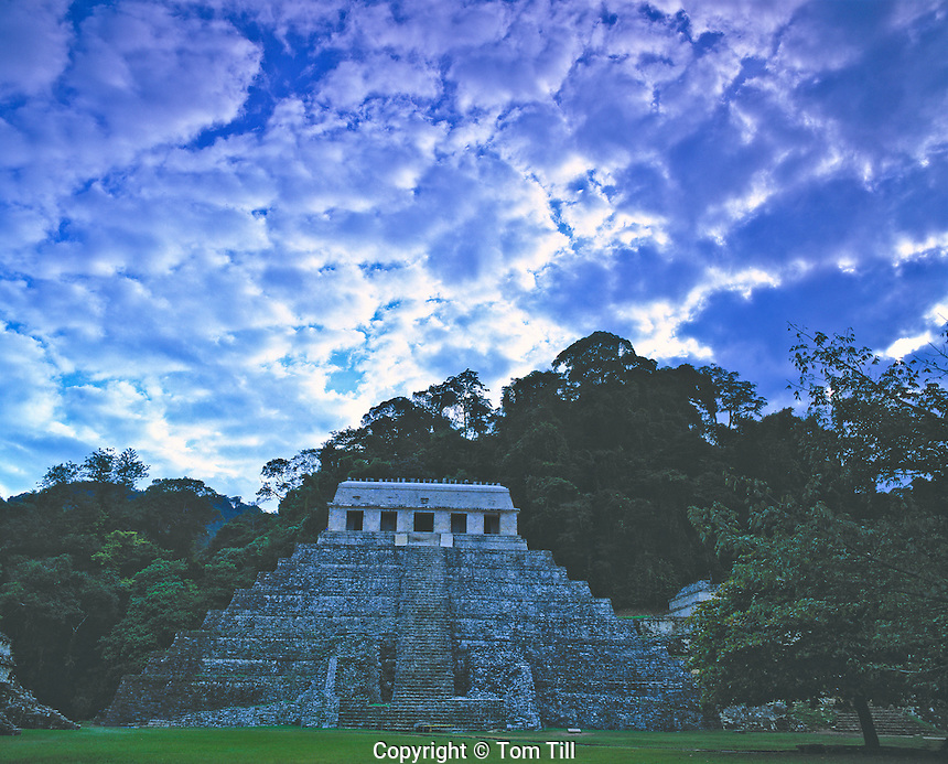 Evening Clouds Over Palenque Mayan Ruins In Chiapas State, Mexico