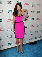 Lisa Vanderpump, Giggy.Bravo's Andy Cohen's Book Release Party For &quot;Most Talkative: Stories From The Front Lines Of Pop Held at SUR Lounge, West Hollywood, California, USA..May 14th, 2012.full length black pink dress dog nimal.CAP/ADM/KB.&copy;Kevan Brooks/AdMedia/Capital Pictures.