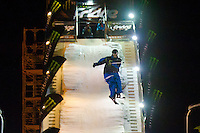 Szczepan Karpiel from Poland performs his trick during the freestyle skiing competition held on the 35 meters high artificial ski jumping ramp on the Monster Energy Fridge Festival in central Budapest, Hungary on November 12, 2011. ATTILA VOLGYI