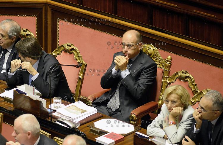 Roma, 2 Ottobre 2013<br /> Senato <br /> Il primo Ministro Enrico Letta attende il voto di Fiducia dai banchi del Governo con i Ministri.