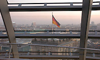 The Berlin skyline is seen from the dome at the top of the Reichstag building in Berlin December 28, 2008. The building was opened in 1894 and housed the Reichstag until 1933, when it was severely damaged in a fire supposedly set by Dutch communist Marinus van der Lubbe, who was later beheaded for the crime. The building remained in ruins until the reunification of Germany, when it underwent reconstruction led by internationally renowned architect Norman Foster. After its completion in 1999, it became the meeting place of the modern German parliament, the Bundestag. (Photo by Alan Greth)