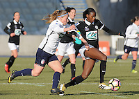 20170129 - LILLE , FRANCE : LOSC's Jana Coryn (L) and Juvisy's Aissatou Tounkara (R) pictured during women soccer game between the women teams of Lille OSC and FFC Juvisy Essonne  during the 1/16 final for the 2017 French Cup at stade Lille Metropole , Sunday 29th of January ,  PHOTO Dirk Vuylsteke | Sportpix.Be