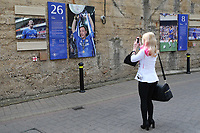 A Chelsea fan takes a picture of the John Terry tribute on the old 'Shed Wall' outside the ground during Chelsea vs Sunderland AFC, Premier League Football at Stamford Bridge on 21st May 2017