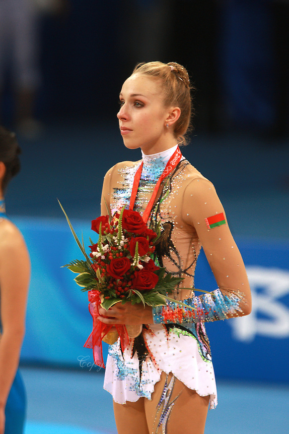 August 23, 2008; Beijing, China; Rhythmic gymnast Inna Zhukova of Belarus feels emotions of the moment after taking silver in the Individual All-Around final at 2008 Beijing Olympics..(©) Copyright 2008 Tom Theobald