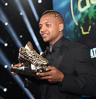20170208 – LINT ,  BELGIUM : winner of the Golden Shoe 2017 JOSE IZQUIERDO pictured during the  63nd men edition of the Golden Shoe award ceremony and 1st Women's edition, Wednesday 8 February 2017, in Lint AED studio. The Golden Shoe (Gouden Schoen / Soulier d'Or) is an award for the best soccer player of the Belgian Jupiler Pro League championship during the year 2016. The female edition is a first in Belgium.  PHOTO DIRK VUYLSTEKE   Sportpix.be