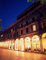 Greece. Corfu Old Town. The Liston at dusk.