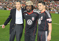 Will Chang, Wale, Jaime Moreno #99 of D.C. United during an MLS match against the New England Revolution on April 3 2010, at RFK Stadium in Washington D.C.