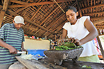 With her husband's help, a woman makes soap in El Bonete, a small village in northwestern Nicaragua.