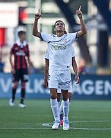 Olimpia midfielder Jose Escalante (12) celebrates his goal.  AC Milan defeated Olimpia 3-1 at Gillette Stadium on August 4, 2012