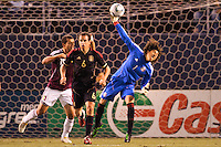 Guillermo 'Memo' Ochoa (1) goalkeeper of Mexico let's loose of a ball downfield. The national teams of Mexico and Venezuela played to a 1-1 draw in an International friendly match at Qualcomm stadium in San Diego, California on  March 29, 2011...