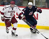 Clay Anderson (Harvard - 5), Logan Cockerill (NTDP - 9) - The Harvard University Crimson defeated the US National Team Development Program's Under-18 team 5-2 on Saturday, October 8, 2016, at the Bright-Landry Hockey Center in Boston, Massachusetts.