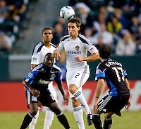LA Galaxy defender Todd Dunivant (2) heads the ball clear. The LA Galaxy and the San Jose Earthquakes played to a 2-2 draw at Home Depot Center stadium in Carson, California on Thursday July 22, 2010.