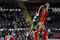 Dave O'Callaghan of Munster Rugby wins the ball at a lineout. European Rugby Champions Cup match, between Leicester Tigers and Munster Rugby on December 20, 2015 at Welford Road in Leicester, England. Photo by: Patrick Khachfe / JMP