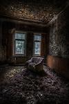 Old forgotten hotel room interior
