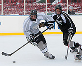 Trevor Mingoia (PC - 9), Kevin Hart (PC - 2) -  - The participating teams in Hockey East's first doubleheader during Frozen Fenway practiced on January 3, 2014 at Fenway Park in Boston, Massachusetts.