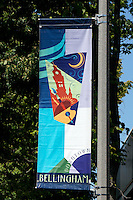 Downtown Bellingham lamp post banner, Bellingham, Washington state, USA