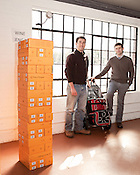 February 20, 2012. Raleigh, NC.. Phillip Zucchino and Philip Rubin are the owners of Wine Feed.. Wine Feed is a new full service wine shop on Glenwood South that offers home delivery by bike and car, as well as a walk in shop..