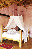 One of the bedrooms/cabañas at the Hotelito Desconocido an extremely luxurious eco-friendly hotel on Costalegre, Jalisco, Mexico