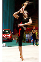 "Irina Kovalchuk of Ukraine trains with rope before seniors All-Around at 2007 World Cup Kiev, ""Deriugina Cup"" in Kiev, Ukraine on March 15, 2007."