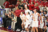 19 March 2007: Rosalyn Gold-Onwude, Christy Titchenal, Morgan Clyburn, Clare Bodensteiner, Jayne Appel, and Melanie Murphy during Stanford's 68-61 second round loss to Florida State in the 2007 NCAA Division I Women's Basketball Championships at Maples Pavilion in Stanford, CA.