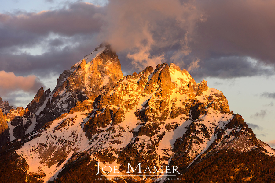 The peaks of Grant Teton and Mount Owen at sunrise in Grand Teton National Park.