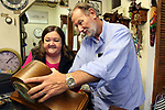 TORRINGTON CT. 19 April 2017-041917SV06-Al and Bev Michalowski of Country Clocks work in their store in Torrington Wednesday.<br /> Steven Valenti Republican-American