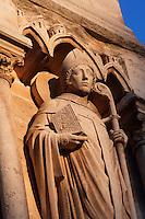 Saint Denis, right south buttress, 19th century during the restoration by Viollet-le-Duc, West façade, Notre Dame de Paris, 1163 ? 1345, initiated by the bishop Maurice de Sully, Ile de la Cité, Paris, France. Picture by Manuel Cohen