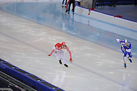 SPEEDSKATING: SOCHI: Adler Arena, 24-03-2013, Essent ISU World Championship Single Distances, Day 4, 500m Men, Dmitry Lobkov (RUS), Pekka Koskela (FIN), © Martin de Jong