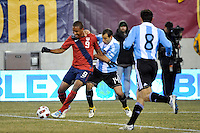 Juan Agudelo (9) of the United States under pressure from Javier Mascherano (14) of Argentina. The United States (USA) and Argentina (ARG) played to a 1-1 tie during an international friendly at the New Meadowlands Stadium in East Rutherford, NJ, on March 26, 2011.
