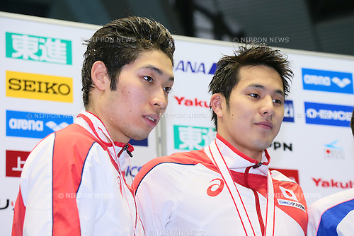 (L-R) Kosuke Hagino, Daiya Seto (JPN),<br /> MAY 23, 2015 - Swimming :<br /> Japan Open 2015<br /> Men's<br /> 400m individual medley<br /> Award Ceremony<br /> at Tatsumi International Swimming Pool in Tokyo, Japan.<br /> (Photo by Yohei Osada/AFLO SPORT) [1156]