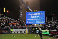 A general view of the big screen at half-time. Aviva Premiership match, between Bath Rugby and Saracens on April 1, 2016 at the Recreation Ground in Bath, England. Photo by: Patrick Khachfe / Onside Images