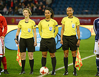 20170411 - LEUVEN ,  BELGIUM : Dutch referees pictured with Fijke Hoogendijk (left) , Shona Shukrula (middle) and Franca Overtoom (r) during the friendly female soccer game between the Belgian Red Flames and Scotland , a friendly game in the preparation for the European Championship in The Netherlands 2017  , Tuesday 11 th April 2017 at Stadion Den Dreef  in Leuven , Belgium. PHOTO SPORTPIX.BE   DAVID CATRY