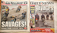 "The covers of the Wednesday, November 21, 2012 New York Post and the New York Daily News call  Palestinian thugs ""Savages"" as they report on the execution of ""spies"" by Hamas and the dragging of the body through the streets of Gaza City.  (© Richard B. Levine)"