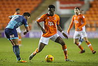 BLACKPOOL, ENGLAND - JANUARY 10: Blackpool's Armand Gnanduillet battles with Wycombe Wanderers' Sam Wood during the Checkatrade Trophy Round 3 match between Blackpool and Wycombe Wanderers at Bloomfield Road on January 10, 2017 in Blackpool, England. (Photo by Alex Dodd - CameraSport/CameraSport via Getty Images)