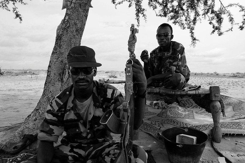 En Geneina, West Darfur, August 8, 2004.Janjaweed outpost near the city. Said Mohammed (Left) and Taib Nuar (Right).