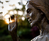 Be the light: Statue of Christ with light behind his raised hand, Washington DC
